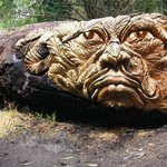 Quirky carvings done by the woodsmen from felled trees