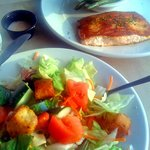 Garden Salad and Grilled Salmon