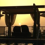 Pool cabana at sunset