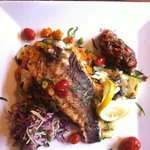 Seared Branzino, grilled vegetables and couscous
