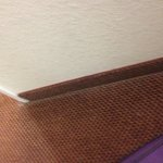Inches of dust around all the walls inside the room travelLodge Terre Haute IN