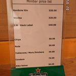 price list of items in room