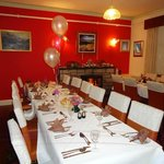 Their larger dining room set up for a birthday celebration