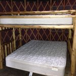 Bunk beds in yurt w real mattresses