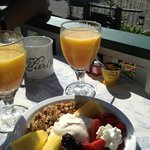 Fresh fruit, home made mascarpone, granola, juice