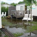 Lake around mobile home