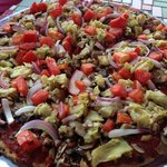 Millet and Flax Crust - Tomatoe, Mushroom, Onion, and Artichoke Hearts
