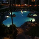 night time view of pool area from room 317 balcony