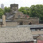 View of Roman Wall and St. Nicholas Church from unit window