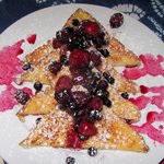 Bev's French toast with berries and coulis