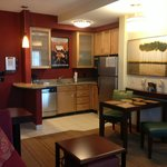 Kitchen furnished with everything, plates, glasses, toaster, silverware, pots & pans to cook mea