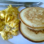 Pancakes and egg for breakfast... yum!