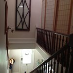 View of main staircase, looking outside the