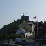 Criccieth castle and lifeboat station from outside hotel