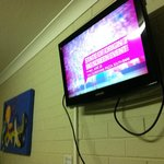 The Flat screen TV with local channels