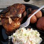 Chicken, Cole Slaw, Potatoes at Big Dipper Barbeque.  Photo taken by Barbara Wood.