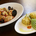Seafood Linguini and our Crab Cakes