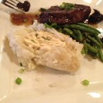 Sirloin, Mashed Potatoes, and Green Beans.