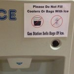 Ice machine signage is an insult to customers