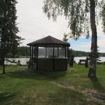 Gazebo by river at Krog's Kamp