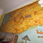 Map wall in the living area