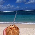 fresh young coconut water for $1 at Anita's beach fales