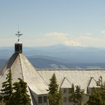 looking across the Lodge roof to Mount Jefferson, 46 mi away