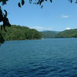 Gorgeous view of Fontana Lake at end of the hiking trail.