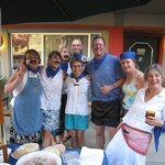 """Team Amnesia"" after preparing a sumptuous Greek-themed meal by the BBQ.."