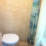 Bathroom and shower are one tiny room; use of shower floods entire bathroom
