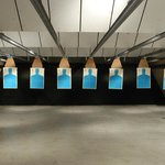Inside one of the ranges at Stone Hart's Gun Club & Indoor Range