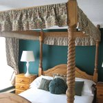 Four poster bed, good firm mattress so two good sleeps.