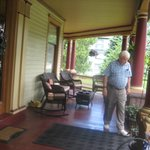 front porch with guest (my husband)