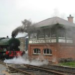 RH Smyth steaming outside the signal cabin