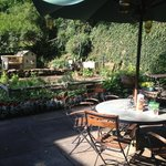 Vegie garden and one of the outdoor tables