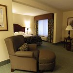 "The king suite is very roomy. It it is ""L"" shaped with no interior doors (except bath and closet"