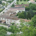 View of the hotel looking down from the medieval town wall of the centre of Tournon d'Agenais