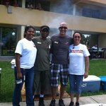 Staff hosting the 4th of July BBQ