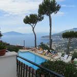 Balcony view over pool and Bay of Naples