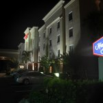 The Hampton Inn at night