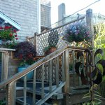 Front deck, decorations and planters