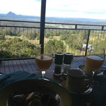 Breakfast overlooking the Glasshouse Mountains