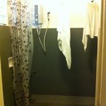 Our bathroom with hanging towels