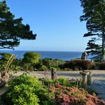 View from our bedroom window across the gardens to the sea