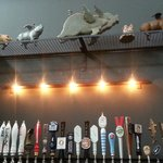 View from the bar of the wine and beer taps (and