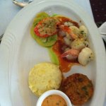 Seafood Trio, Scallops, Shrimp and Crab Cake with garlic potatoes and Veggie of the day