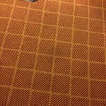 Stained carpet throughout the room