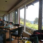 Tables by the windows overlooking Kilauea