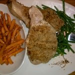 Unbelievably good pecan crusted chops and sweet potato fries
