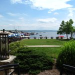View of Candaigua Lake from covered patio seating